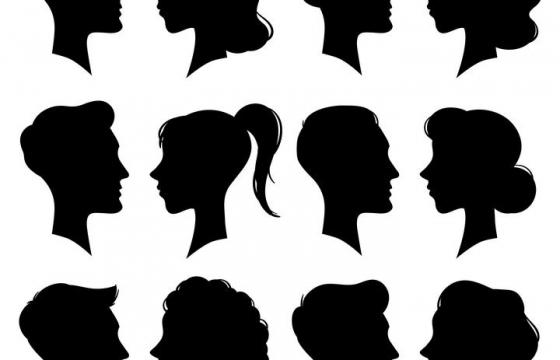 12款男女头像侧影剪影图片免抠素材
