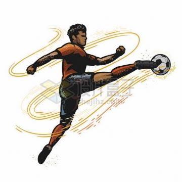踢足球的球员彩绘漫画插画467503png图片素材