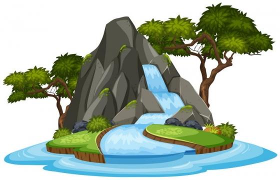 卡通风格小岛上的瀑布和树木等自然景观图片免抠矢量素材