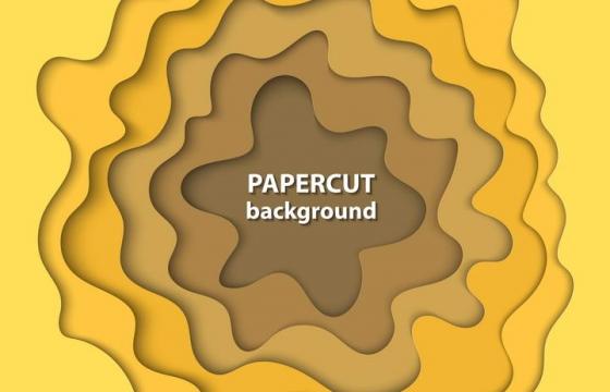 剪纸叠加风格渐变色黄色边框装饰图片免抠素材