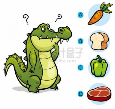 儿童益智游戏插图鳄鱼吃什么png图片免抠素材