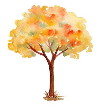水彩画油画风格秋天发黄的树木免抠PNG图片素材