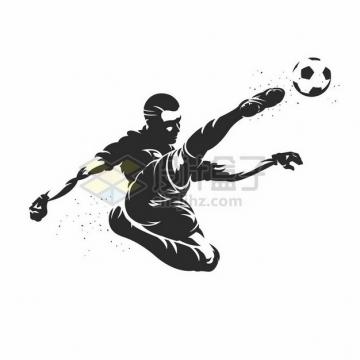 踢足球的球员黑白色漫画插画840116png图片素材