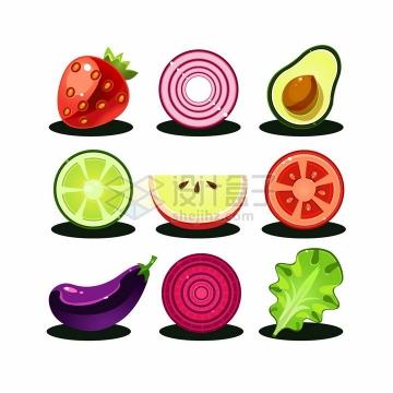 卡通草莓洋葱牛油果橙子苹果西红柿茄子萝卜生菜等美味蔬菜水果png图片免抠矢量素材