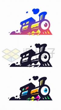3款抽象风格火车头logo设计方案png图片免抠矢量素材