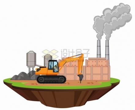 悬空岛上冒烟的工厂和钻探地面的工程机械png图片免抠eps矢量素材