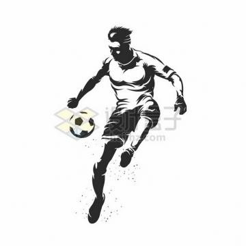 踢足球的球员黑白色漫画插画553375png图片素材