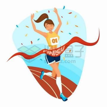 卡通美女跑步冲到终点撞线获得第一名png图片免抠矢量素材