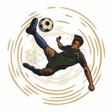 踢足球的球员彩绘漫画插画999652png图片素材