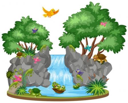 卡通风格树木和瀑布以及小鸟乌龟等自然景观图片免抠矢量素材