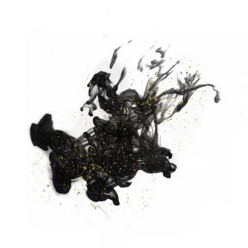 带金粉的黑色墨汁烟雾效果235605png图片素材