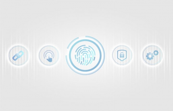 蓝色的指纹解锁指纹识别技术图标免抠矢量图片素材