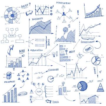 手绘蓝色涂鸦圆珠笔风格曲线图饼形图柱形图等PPT图表元素图片免抠素材