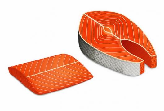 纹理清晰的三文鱼生鱼片日式料理png图片免抠矢量素材