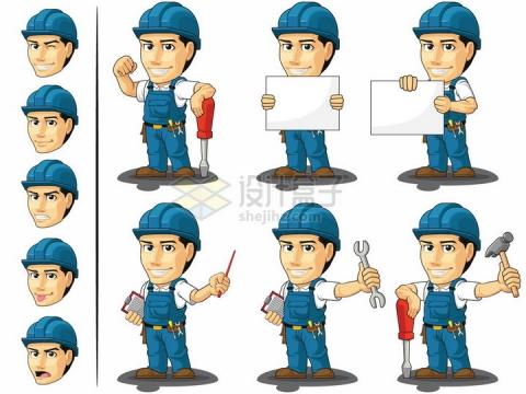 卡通工人拿着各种工具五一劳动节劳动人民png图片素材