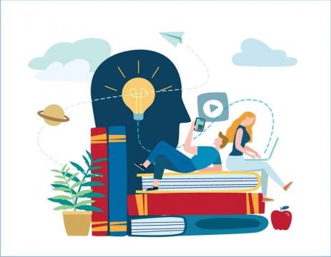 扁平化插画风格躺在书本上用电脑和手机的情侣配图图片免抠素材