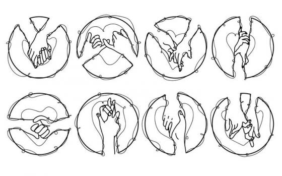 8款抽象线条组成的手牵手手拉手图片免抠素材