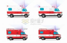 4款闪着灯光的救护车消防车png图片素材