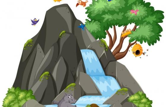 卡通风格小山和瀑布以及犀牛乌龟小鸟等图片免抠矢量素材