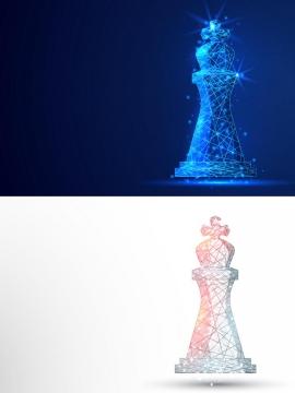 两款线条组成的国际象棋棋子图片免抠矢量素材