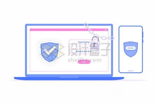 被铁链锁起来的笔记本电脑和手机象征了网络安全251838png图片素材