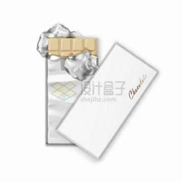 撒开锡纸包装的白色巧克力969831png图片素材