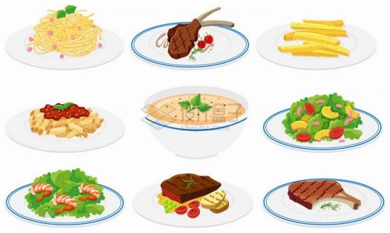 白色瓷盘上的面条牛排薯条通心粉蔬菜色拉等美味美食营养晚餐png图片免抠矢量素材