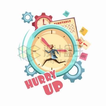 卡通漫画风格在钟表中快速奔跑的商务人士象征了时间紧急png图片免抠矢量素材