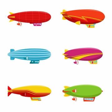 6款彩色扁平化风格飞艇航空器png图片免抠eps矢量素材