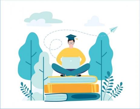蓝色扁平化插画风格坐在书本上用电脑的博士配图图片免抠素材