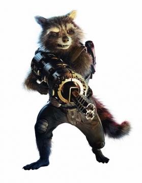 电影中拿着枪的火箭浣熊png免抠图片素材