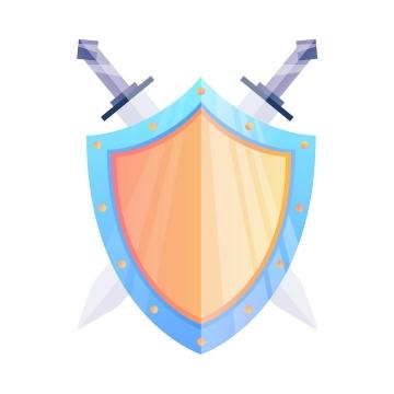 卡通风格西方骑士的刀剑和盾牌图片免抠矢量素材