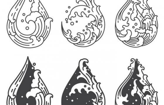 6款水滴形状的波浪图案图片免抠素材