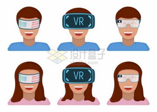 6个戴着VR眼镜玩虚拟现实技术的卡通头像984855png图片素材