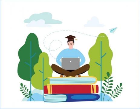 绿色扁平化插画风格坐在书本上用电脑的博士配图图片免抠素材