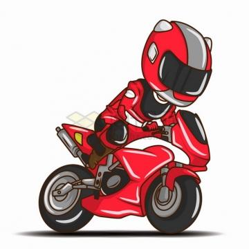 卡通红色骑手骑着摩托车png图片素材
