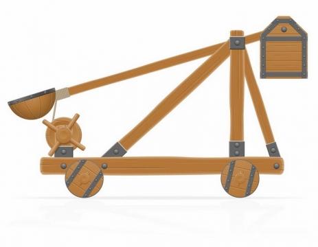木制古代投石车侧面图png图片免抠素材