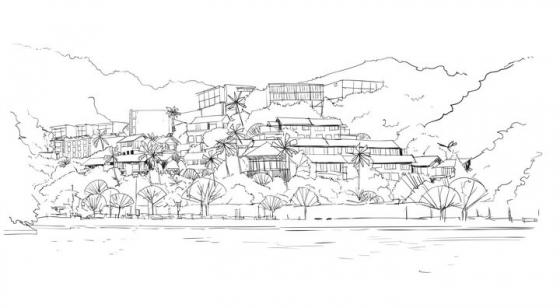 手绘线条素描风格山坡上的建筑群风景图图片免抠矢量素材