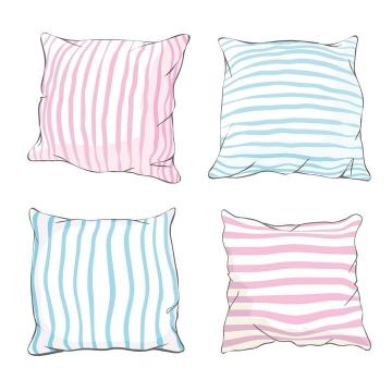 4款手绘风格条纹状枕头抱枕图片免抠矢量素材