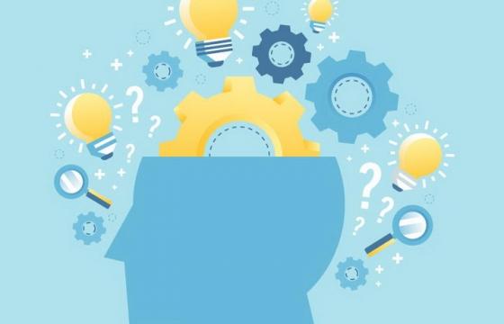 蓝色半个人体大脑中装着的各种齿轮创意灯泡等免抠矢量图片素材