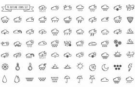 74个黑色线条风格多云晴天等天气预报图案png图片免抠eps矢量素材
