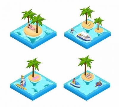 4款2.5D风格热带海岛游艇冲浪等海边旅游png图片免抠eps矢量素材