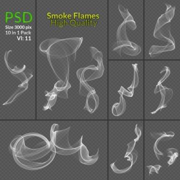 10款青烟缕缕半透明白色烟雾效果图片免抠素材合集