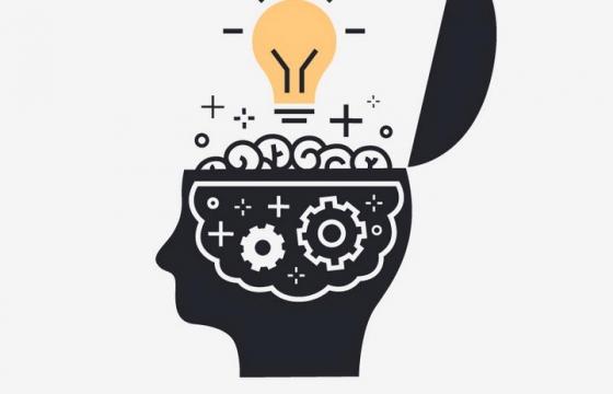 黑色半个人体大脑中装着的各种创意灯泡等免抠矢量图片素材
