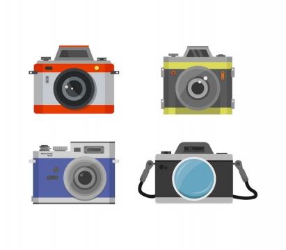 3款扁平化风格的数码单反照相机免抠矢量图素材