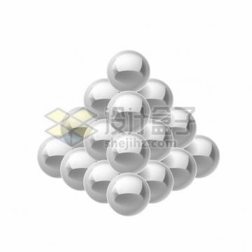 银灰色巴克球磁力球磁铁球组成的3D立方体金字塔形png图片素材
