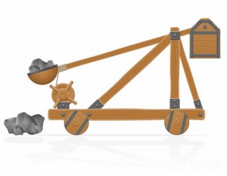 装上了石头的木制古代投石车侧面图png图片免抠素材