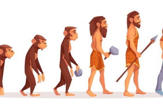 卡通风格人类男人进化史示意图图片免抠素材