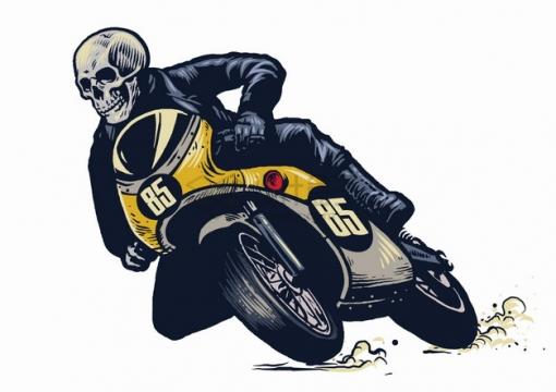 骷髅头骑手骑着一辆摩托车比赛漫画插画png图片素材