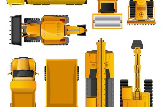 各种俯视视角的油罐车铲车推土机起重机重型卡车等工程机械车辆图片免抠矢量素材